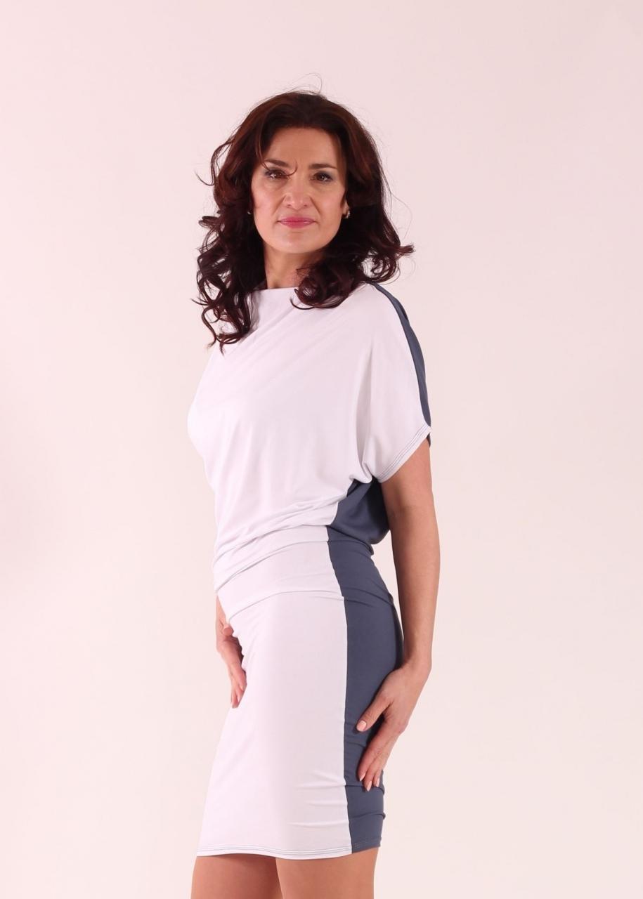Šaty asymetrické bílo šedé krátké ... f57e2e60e9