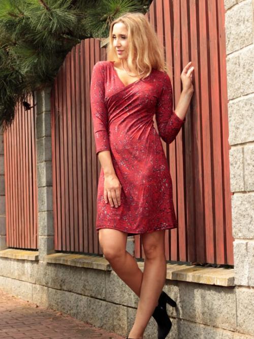 89a33b6e91a Šaty křížené zvonové červený vzor