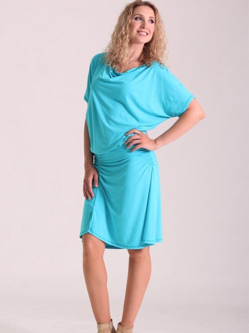 080f291c38b Šaty se zvonovou sukní krátké tyrkys